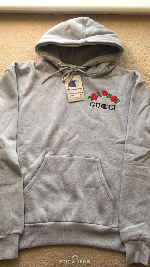 gucci gucci x champion grey reverse weave hoodie designed by ava