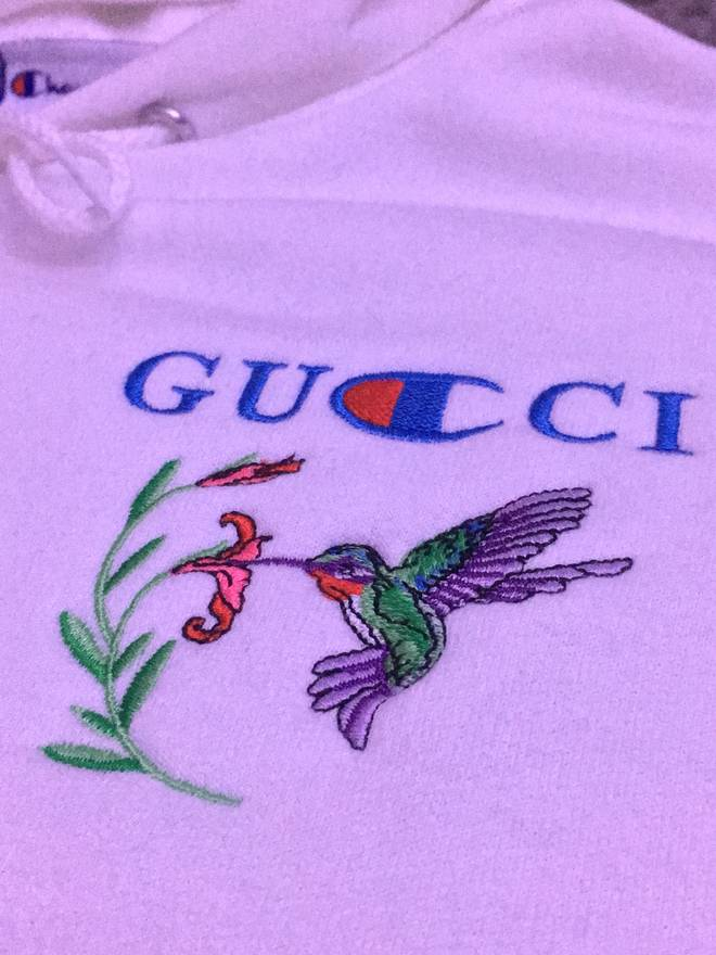 champion gucci x champion custom embroidered hoodie size l