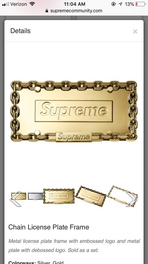 Supreme Supreme Gold License Plate Frame Size one size - Supreme for ...