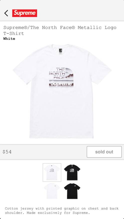 38fc5a2591b7 Supreme The North Face Metallic Logo T Shirt Size M Short