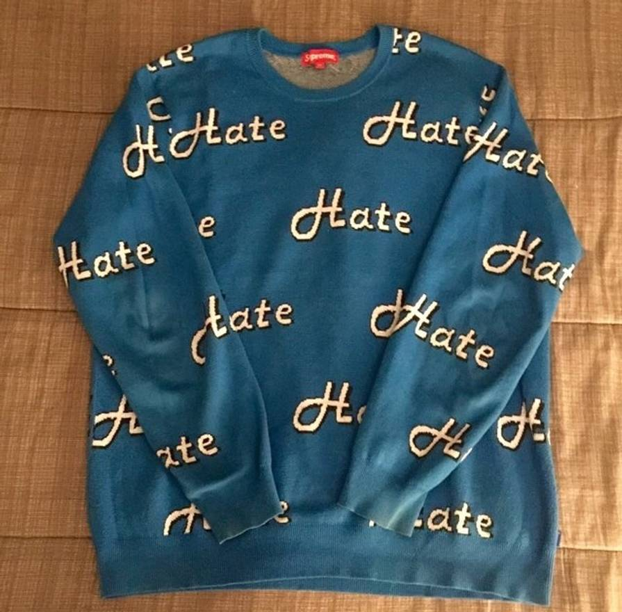 Supreme Supreme Blue Hate Sweater Size xl - Light Jackets for Sale ...