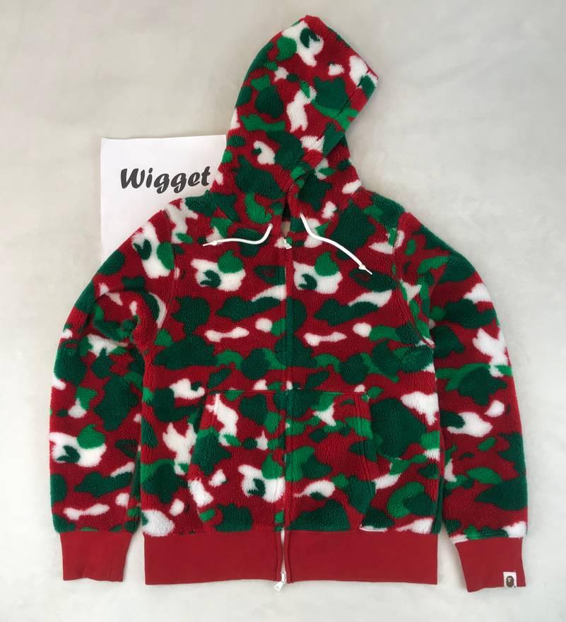 bape bape a bathing ape christmas xmas fleece camo hoodie m medium red green white size - Christmas Fleece