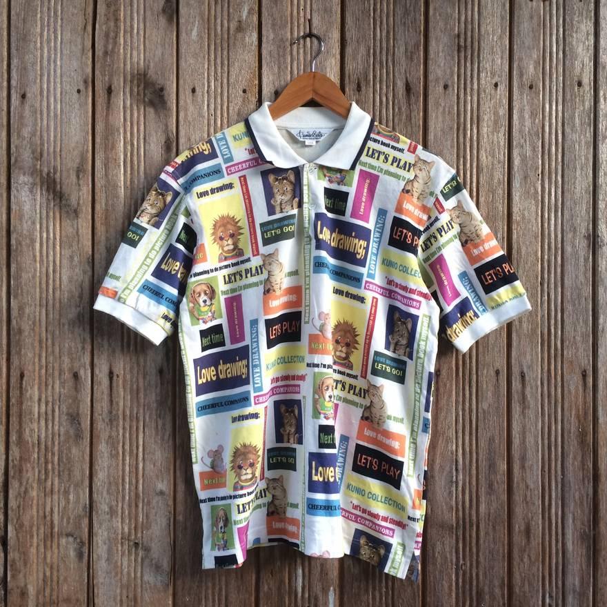 Designer Vintage Polo Shirt Allover Print Kunio Sato Collection Button Down Nice Design Medium Size