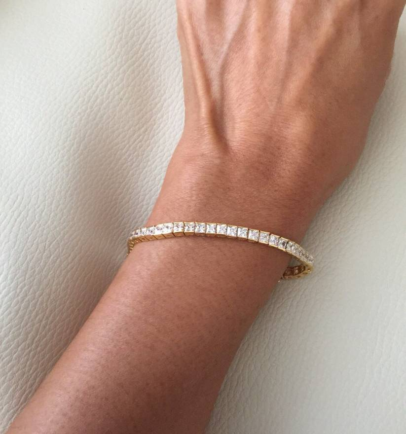 Diamond Bracelet Tennis Gold Color Replica Size One