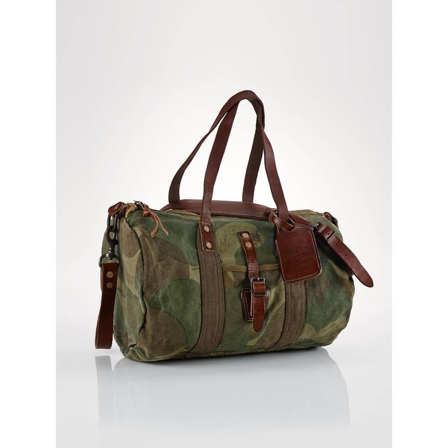 ad98ed90d7 ... coupon code for polo ralph lauren camo canvas leather gym duffle bag  size one size 5868a