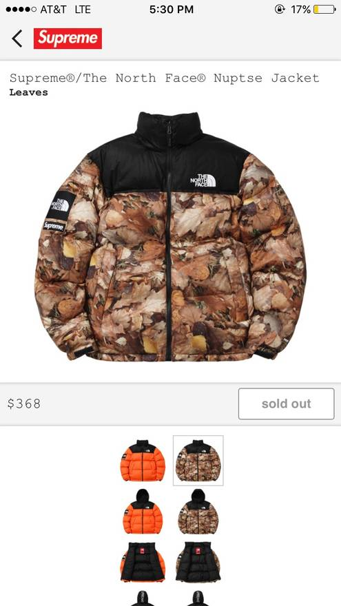 e3966255a0 ... coupon for supreme supreme x the north face nuptse puffer jacket leaves  size us l d7807 ...