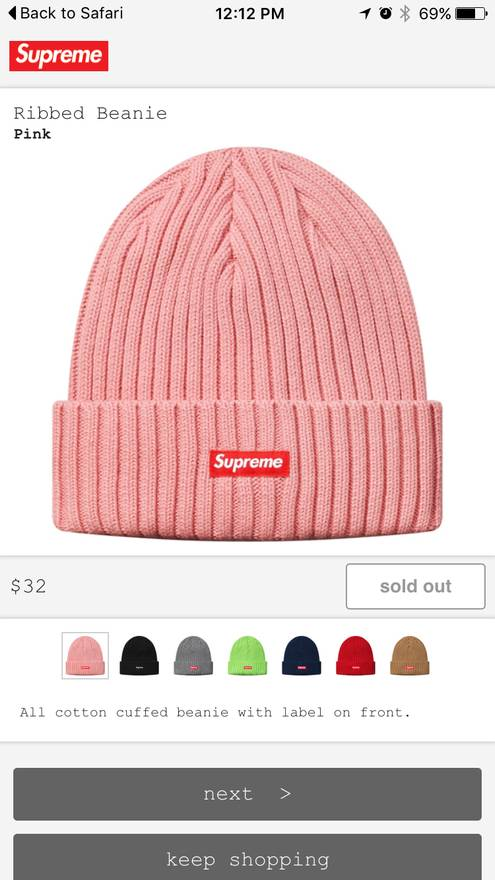 5754331c475 where to buy supreme ribbed beanie pink size null 53656 3c2fa