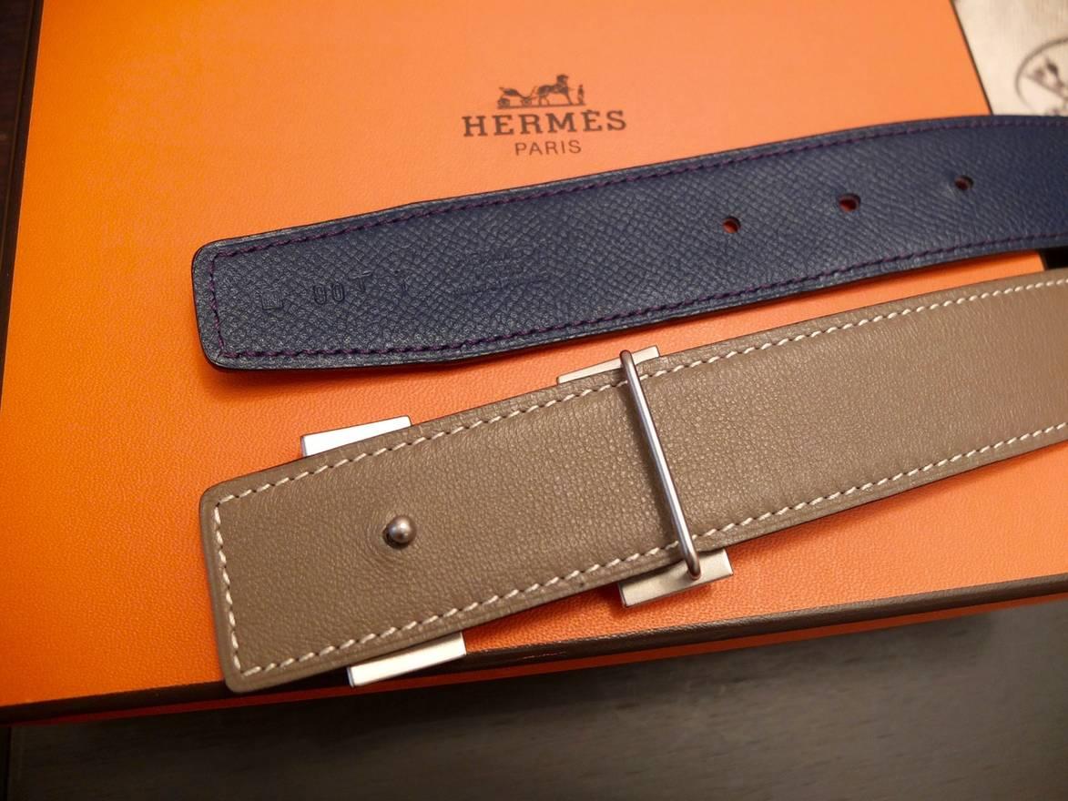 4d236849b2a ... new zealand hermes hermes metal buckle reversible epsom leather belt  etoupe bleu de malte size 32 ...