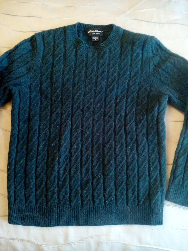 Eddie Bauer 100 Lambswool Thick Cable Knit Forest Green Crewneck