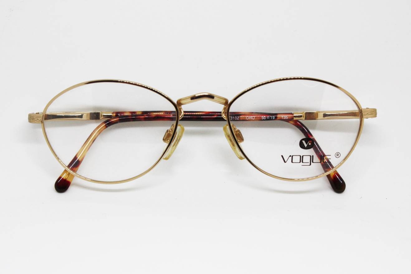 Vintage VOGUE eyewear reading glasses shiny golden frame oval lenses ...