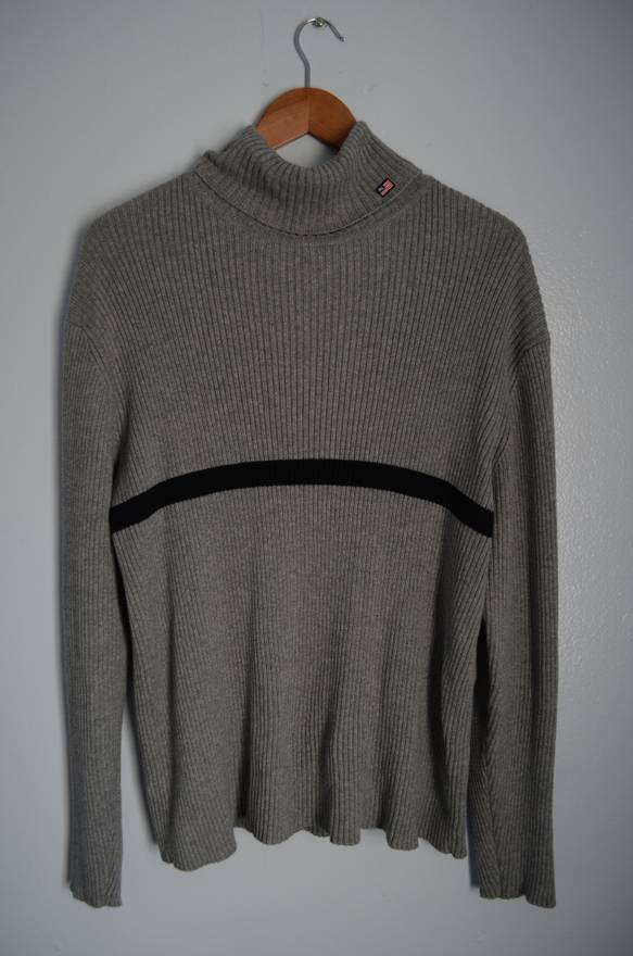 Polo Ralph Lauren Grey Cotton-Knit Turtleneck Sweater Size l ...