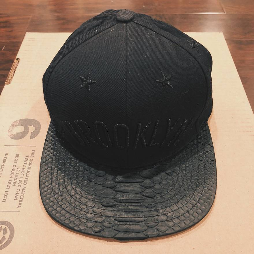 official photos 6795d d746d ... hat black b14fa low price rsvp gallery brooklyn nets stars snakeskin  snapback size one size 2926a f6d39 low price black leather ...