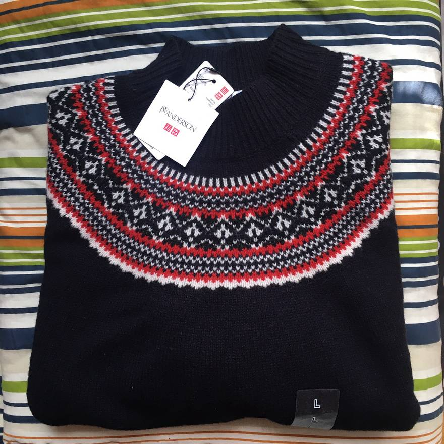 Uniqlo Navy Fair Isle Mock Neck Sweater Size l - Sweaters ...