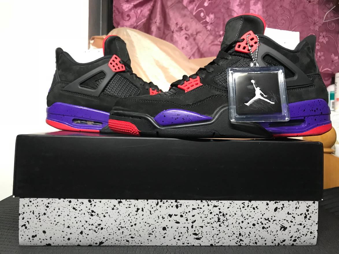 sale retailer 88256 ce488 ... reduced nike nike air jordan 4 iv retro raptors black court purple  aq3816 065 size 8