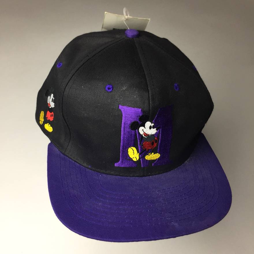2c8a22a9617ee ... italy mickey mouse vintage nwt nos mickey mouse hat snapback purple  deadstock disney cartoon size one