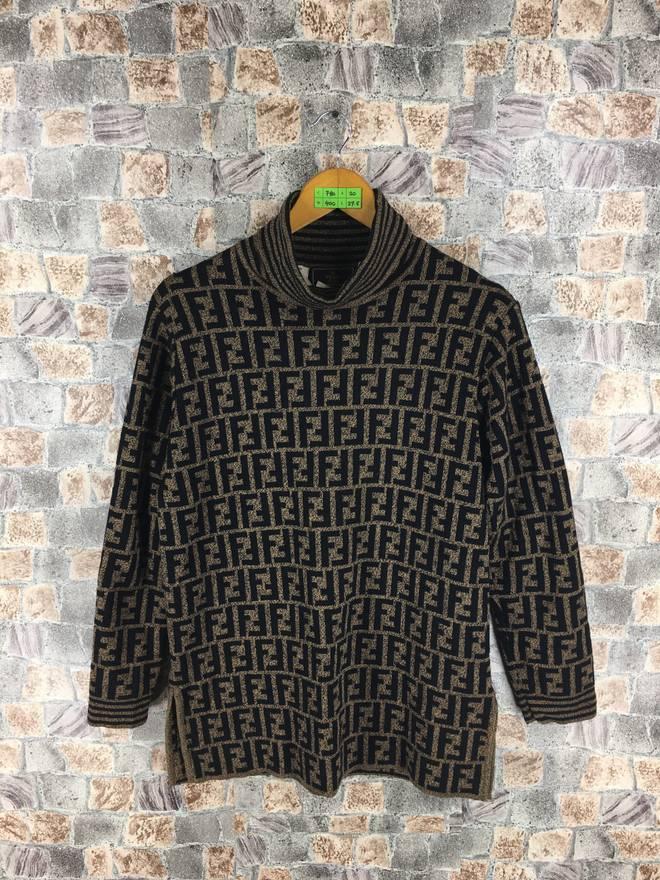 Fendi FENDI ZUCCA Sweater Wool Medium Vintage Zucca Jeans Couture Italy Monogram All Over Print