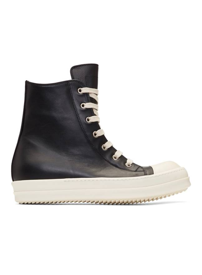 Rick Owens Black & Off-White Leather High-Top Sneakers