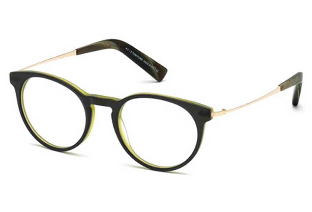 Tom Ford NEW Tom Ford Matte Black/Green Round Eyeglasses Frames Size ...
