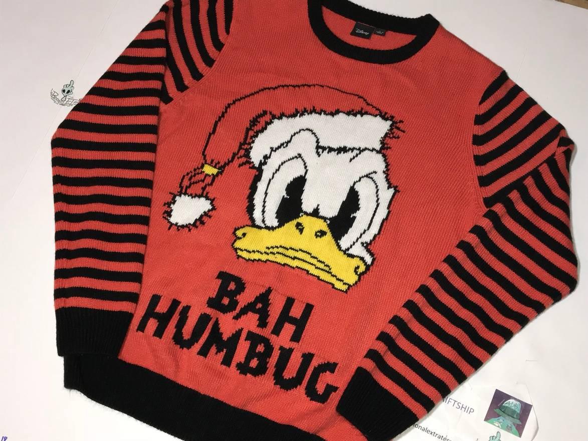 vintage vtg donald duck scrooge ugly christmas sweater disney world long sleeve shirt size us l - Disney Christmas Sweaters