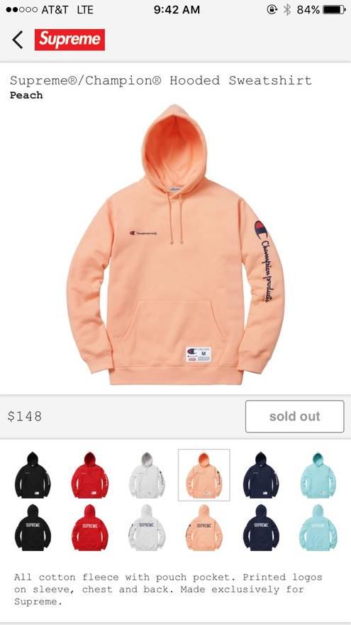84558de6f52e supreme champion hoodie peach