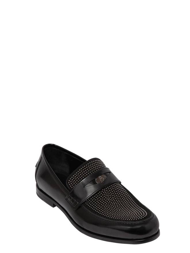 Jimmy chooLEATHER & STUDDED SUEDE PENNY LOAFERS