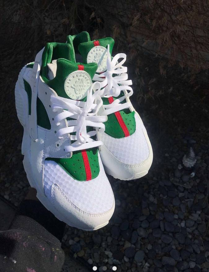 Nike Custom Gucci Inspired White Huarache Customized Size 10 US EU