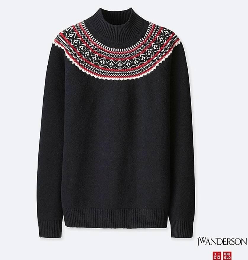 Uniqlo Navy Fair Isle Mock Neck Sweater Size l - Sweaters ...