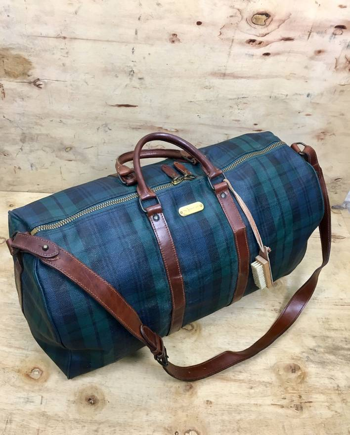 70aee41e365c ... wholesale polo ralph lauren vintage polo ralph lauren green plaid  bandouliere duffle leather strap travel bag ...
