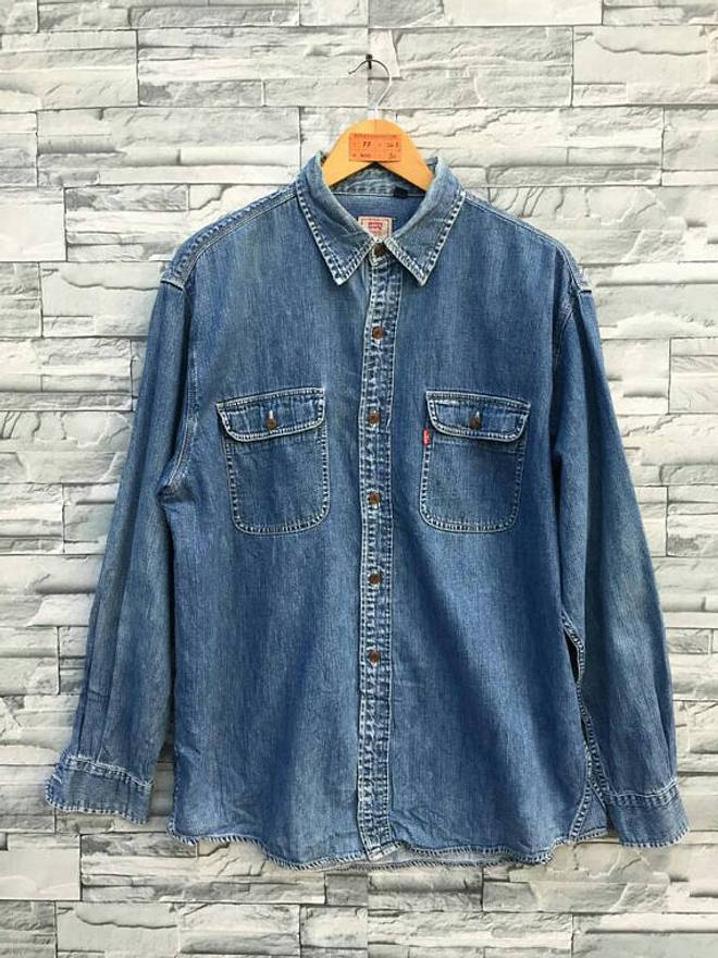 Levis Vintage Clothing LEVIS Strauss Denim Shirt Men Women Large 90s Jeans Grunge