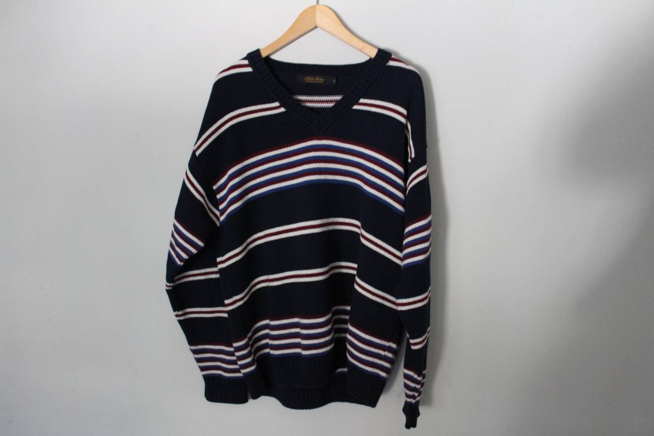 Brooks Brothers Navy Blue Striped Sweater Made In Usa Size L