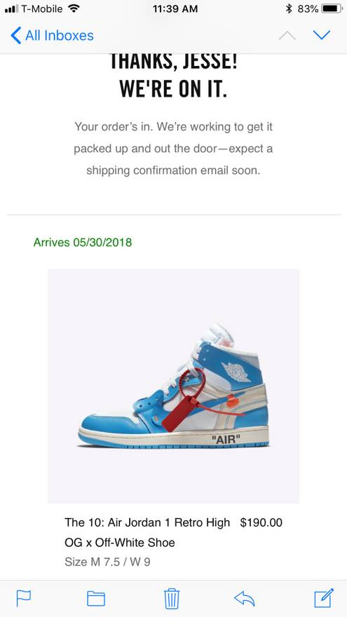factory price bc37e 0ce32 ... reduced nike jordan i x off white virgil abloh unc carolina blue the  ten size us 7.5