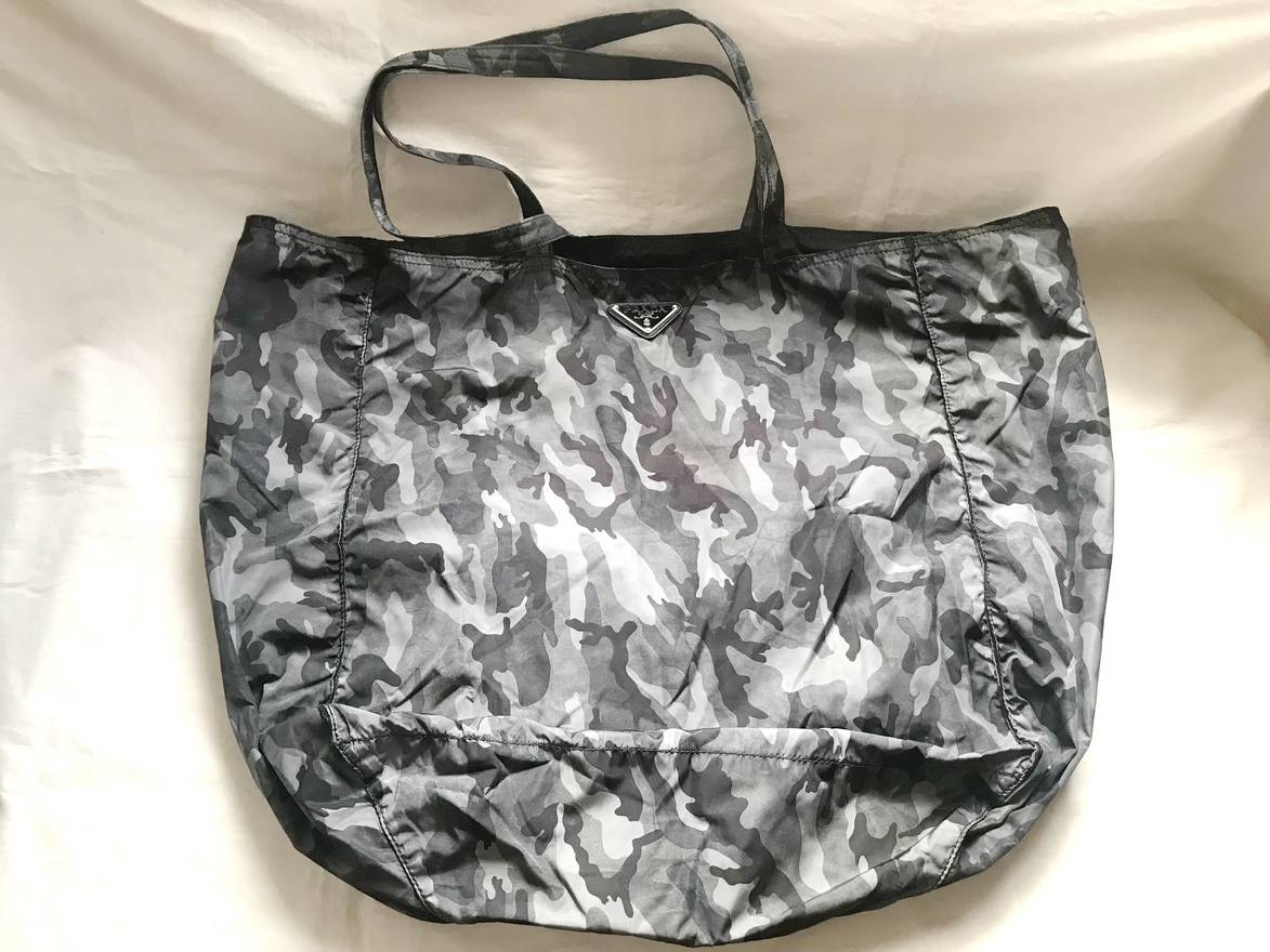 3255559976f1 ... coupon prada prada tessuto reversible black grey camouflage print nylon  tote bag size one 67ad8 9af06