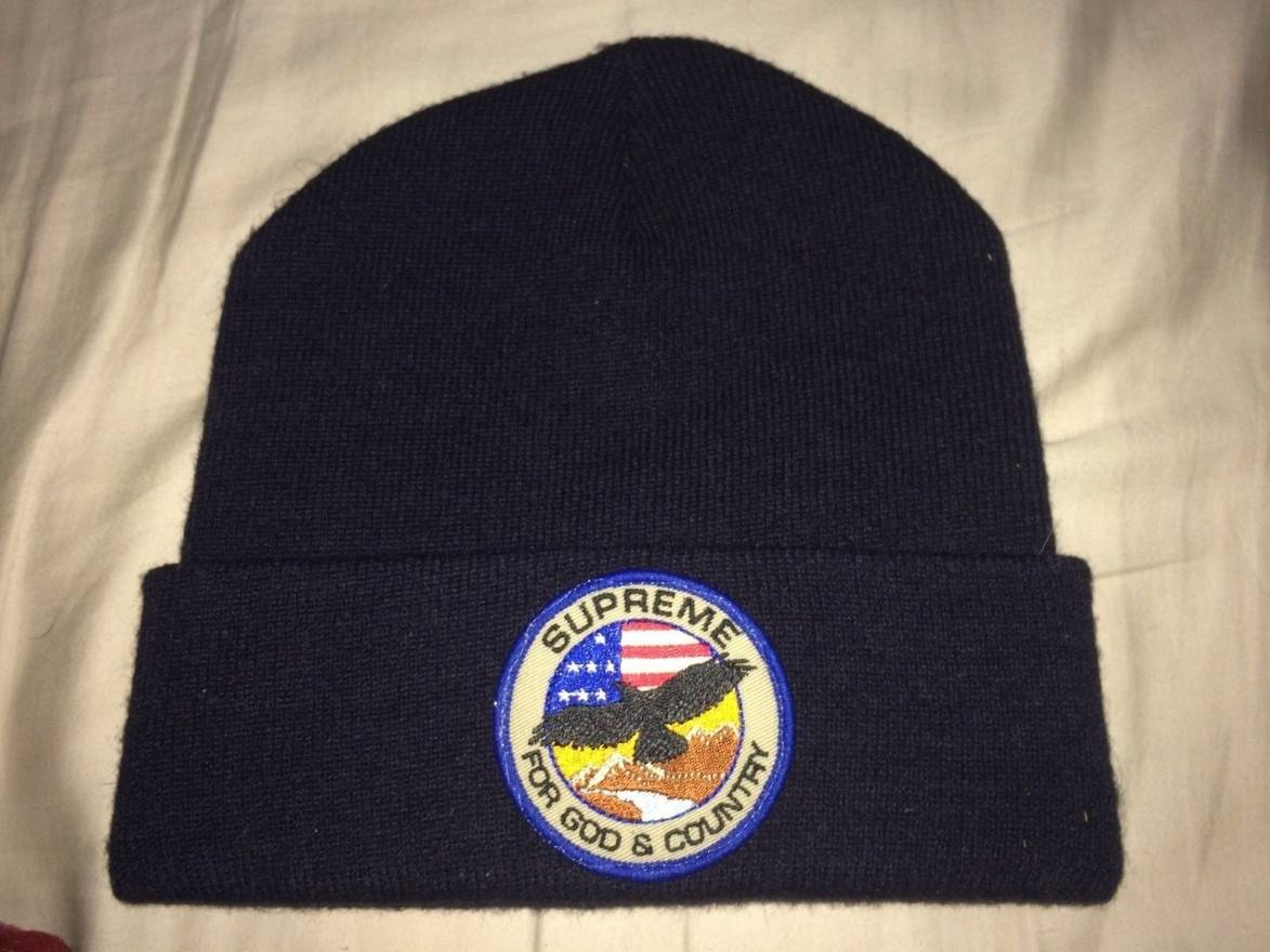 6a7cd94fb17 ... supreme god and country navy beanie size one size