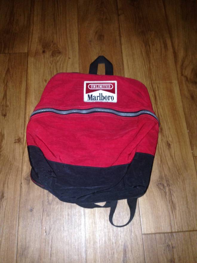 Marlboro Vintage Backpack Small Bag Red And Black Size One