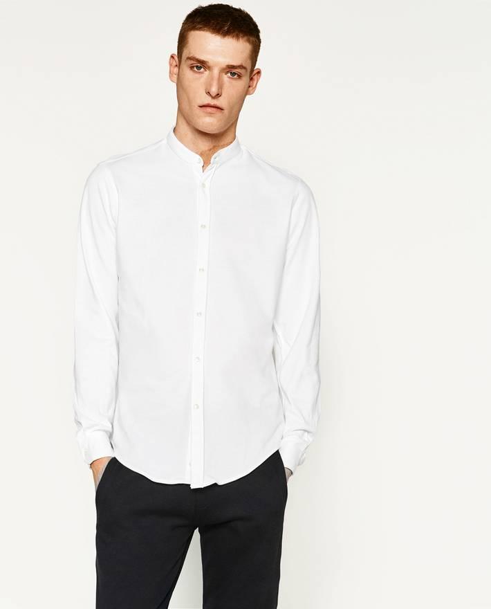 Pique Mandarin Collar Shirt