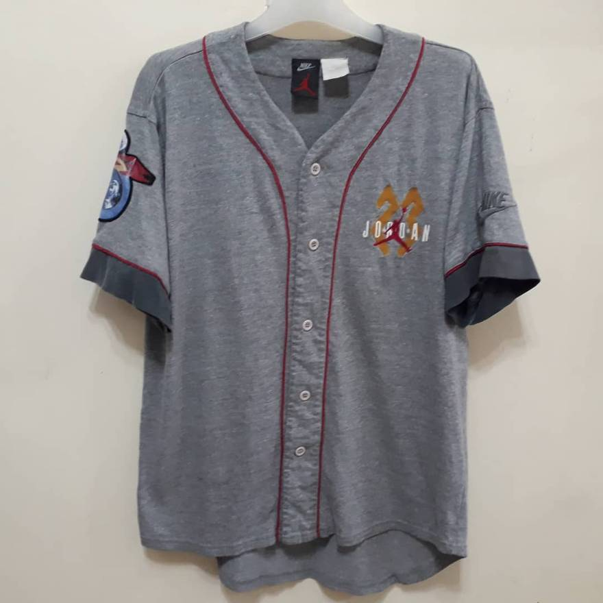 3c90330d7b1c ... Vtg 90s Nike Air Jordan 23 Baseball Jersey Shirt Grey Colour Button  Sport . Nike Air Jordan Retro 3 Woven Warm up Pants Vault Black Cement  897493 010 Sz ...
