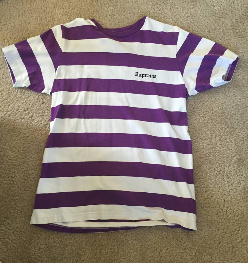 Well-liked Supreme Old English Striped Tee Purple/White/Black Size m - Short  TA27