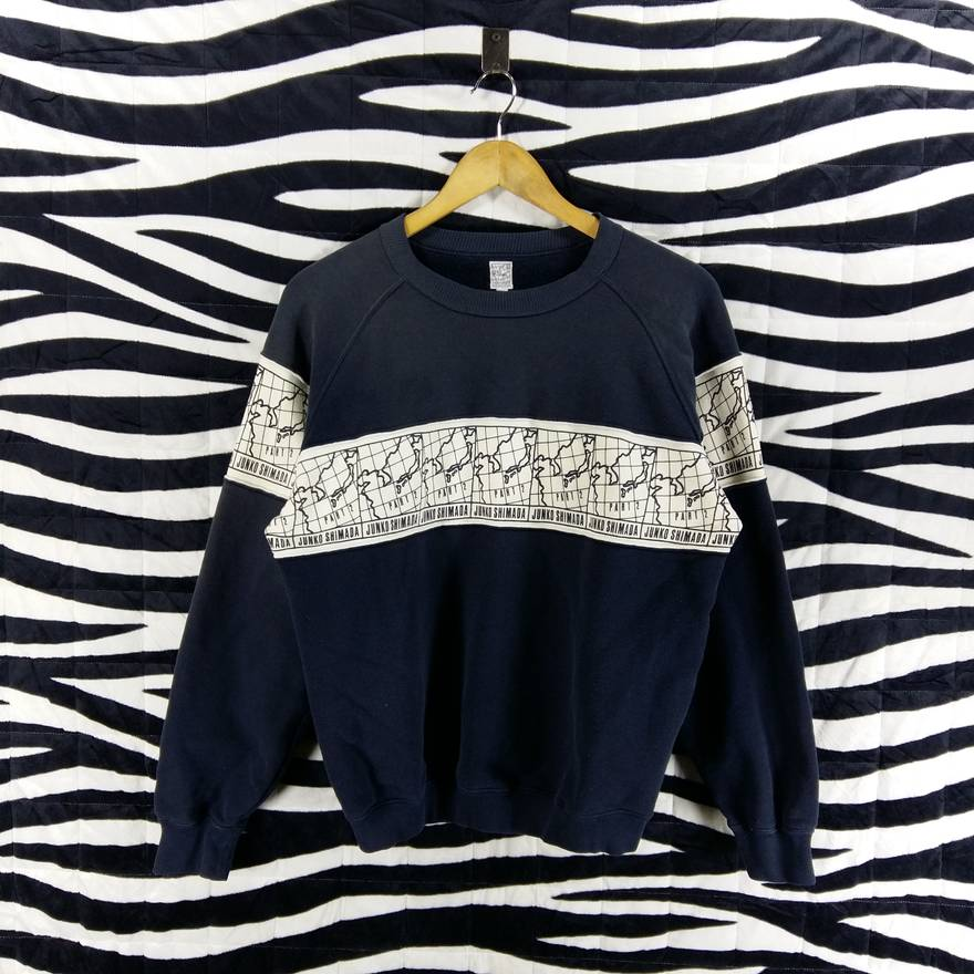Junko Shimada Vintage Japanese Brand JUNKO SHIMADA Sweatshirt Stripes Allover Print Size Medium US M