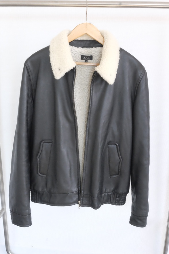 A.P.C. Leather Shearling Jacket Size l - Leather Jackets for Sale ...