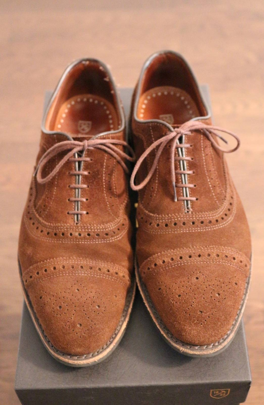 allen edmonds strand dark brown suede 9 5 2e size 9 5 formal shoes