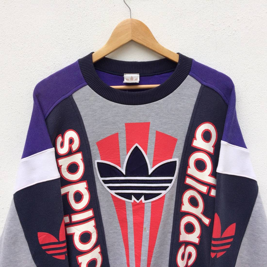 Rare!! Adidas Big logo 90s colourblock style nice design large size 7uhuSaNno