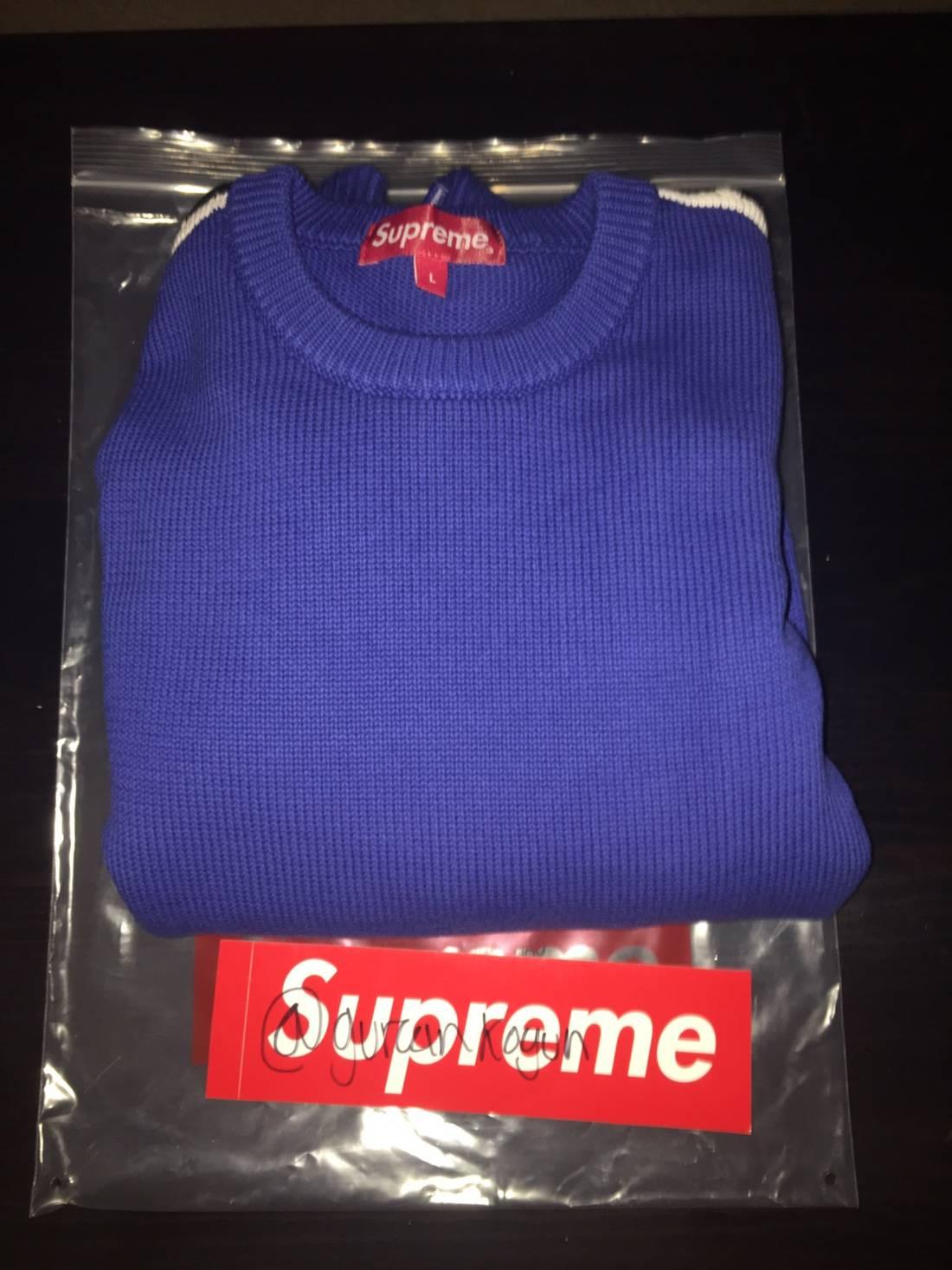 Supreme Sleeve Stripe Sweater Blue Size l - Sweaters & Knitwear ...