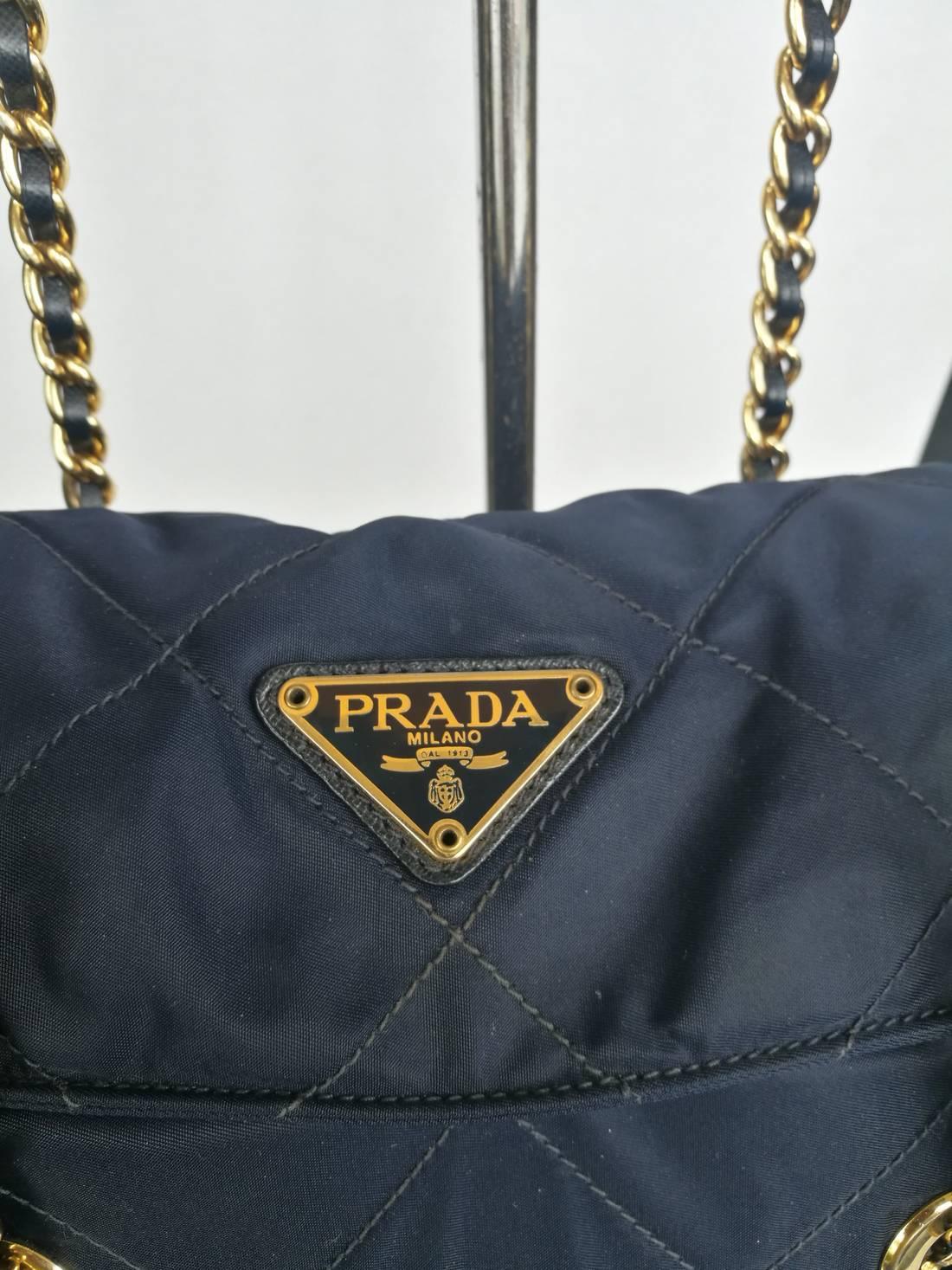 e849cb8788 4ba7f adab5  order prada bags prada quilted nylon handbag w gold chain  4a273 9a459