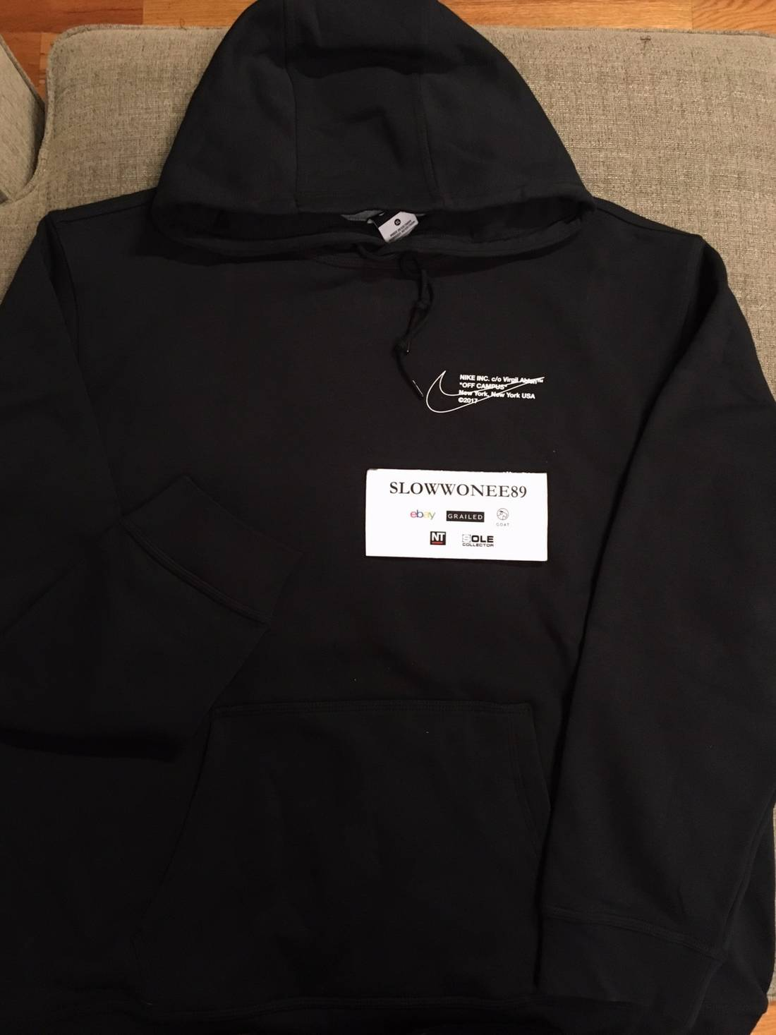 Nike Off-White x Nike Black Pullover Hoodie Virgil Abloh Size xl ...
