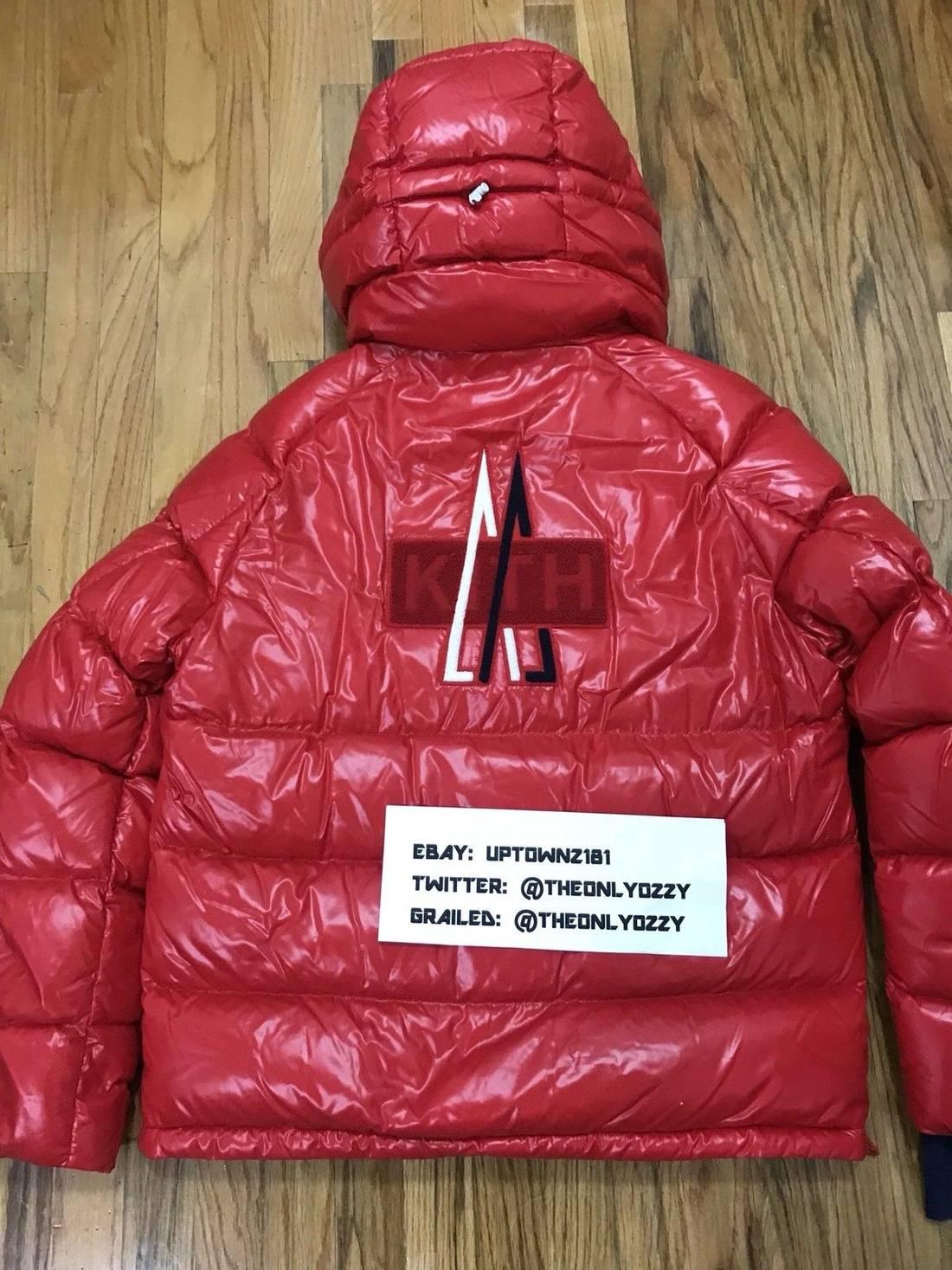 ... czech moncler kith x moncler lachat down red hoodie jacket sz 4 xl size  us xl ... 8d17e7ffe74