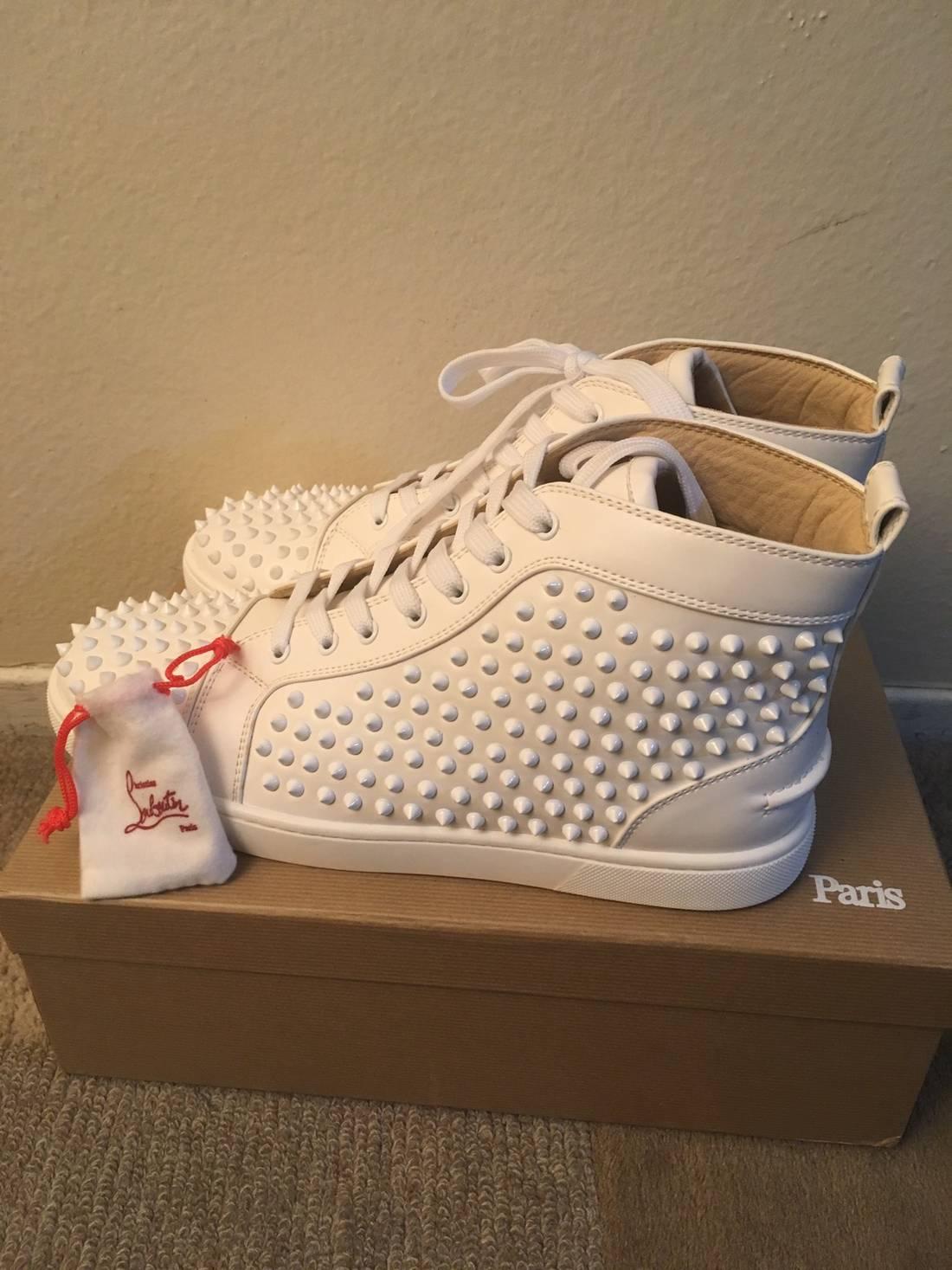 152e6d110f7 ... usa christian louboutin christian louboutin white spiked mens shoes  size us 12 eu 76685 02022