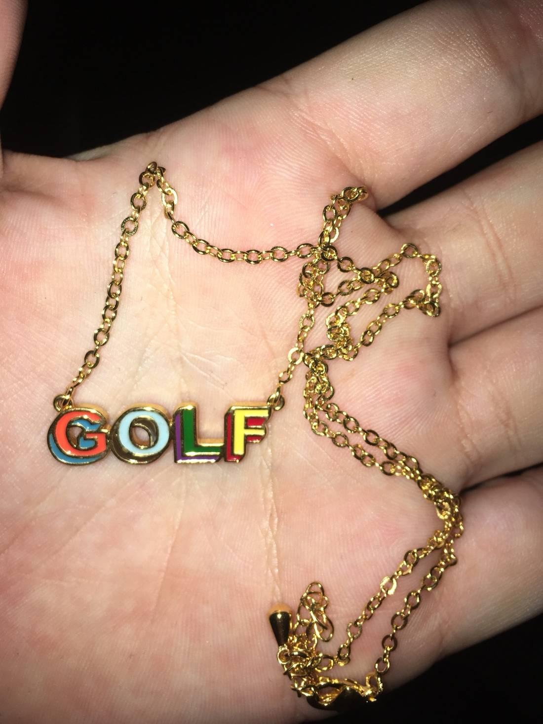 Golf wang golf wang 3d logo gold necklace size one size jewelry golf wang golf wang 3d logo gold necklace size one size 1 aloadofball Images