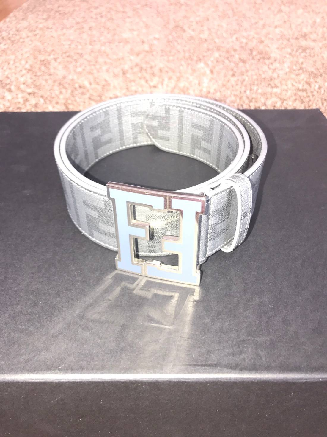 090b5626d1 ... inexpensive fendi fendi zucca grey college belt size 36 1 ea793 1fbb2