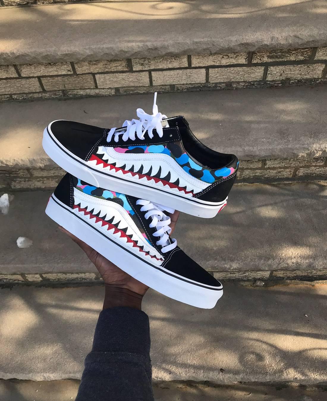 Vans Custom Inspired Bape Shark Teeth Customized Size US 10 EU 43