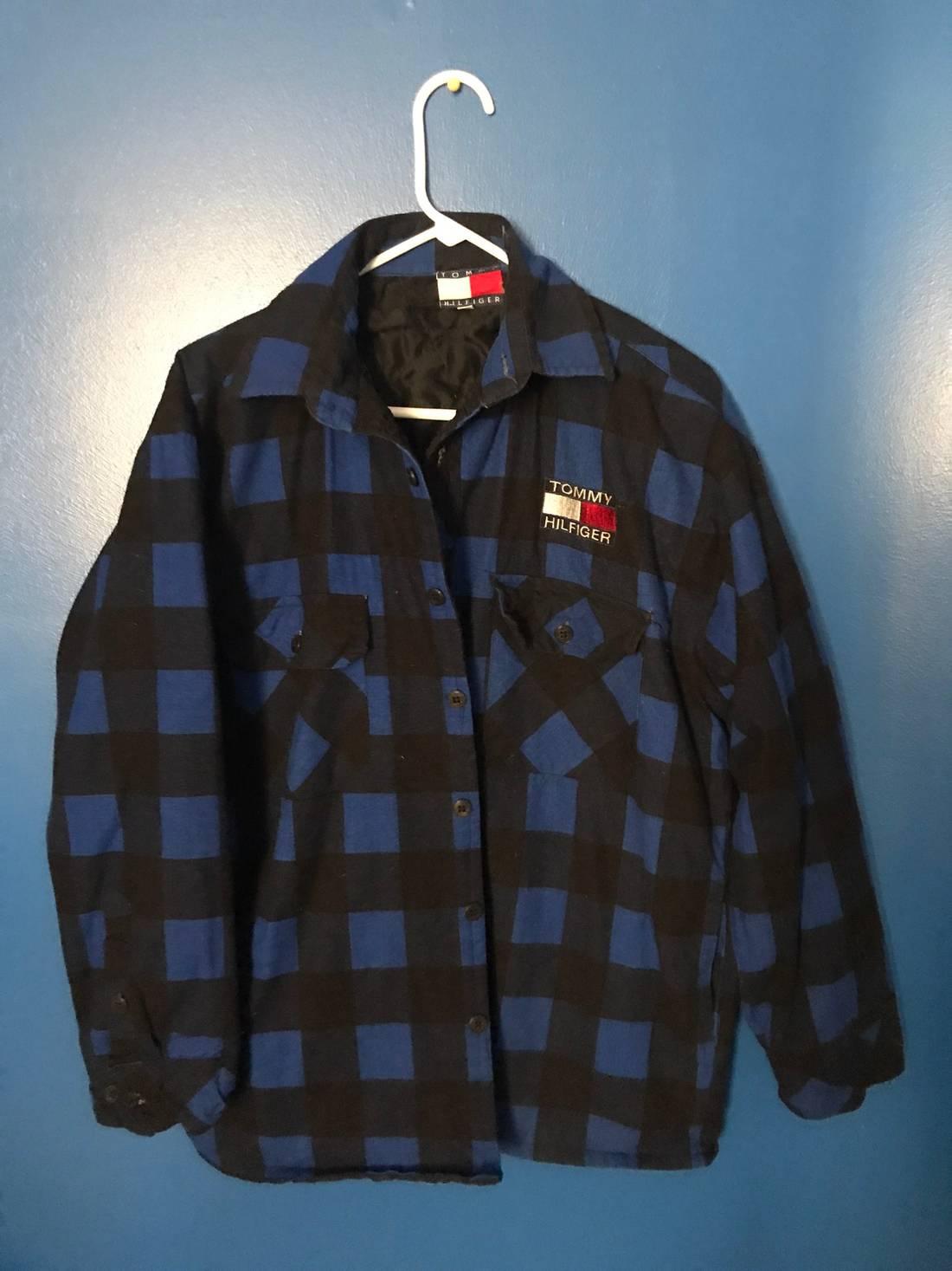 tommy hilfiger tommy patch flannel shacket size m light jackets